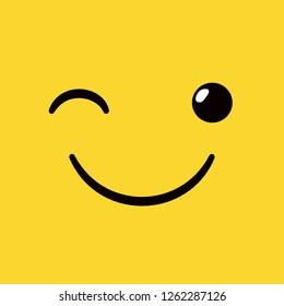 Yellow square smiley emoticon, happily smiling and winking.