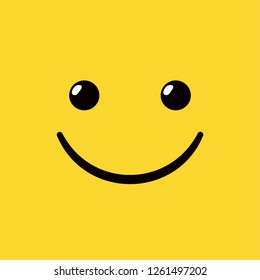 Yellow square smiley emoticon with happy smile. Gladness symbol.