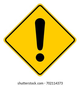 Yellow square warning sign with exclamation mark, vector illustration.
