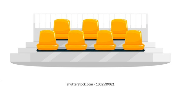 Yellow stadium seats semi flat RGB color vector illustration. Football, soccer supporters chairs. Fans seating. Outdoor concert bench rows. Isolated cartoon object on white background