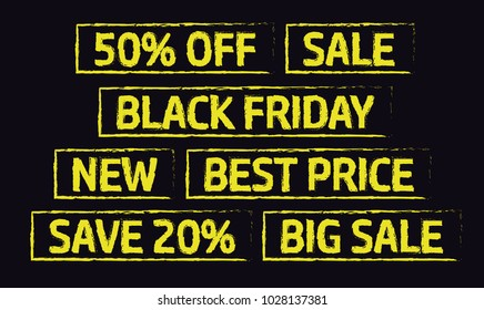 Yellow stamp with different titles. 50 % off, Sale, Black friday, New, Best price, Save 20 %, Big sale