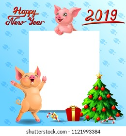 The yellow stands and pink pig with white banner or a poster and inscription of Happy New year 2019, box and fir-tree. A vector illustration in cartoon style on blue.