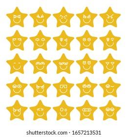 yellow star emoticon icons set