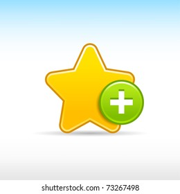Yellow star favorite web 2.0 icon with green button add and shadow on white