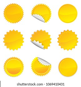 Yellow Starbursts Set,  Illustration Vector 10