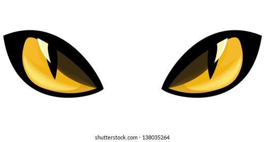 yellow staring cat eyes vector illustration