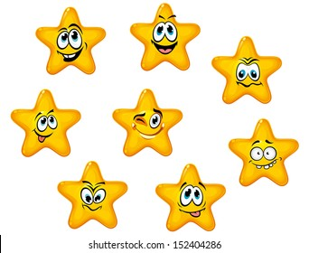 Yellow stars with emotional faces in cartoon style or idea of logo. Jpeg version also available in gallery