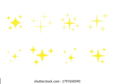 Yellow stars icons set. Golden glowing fireworks symbols collection. Bright stars twinkle vector isolated illustrations