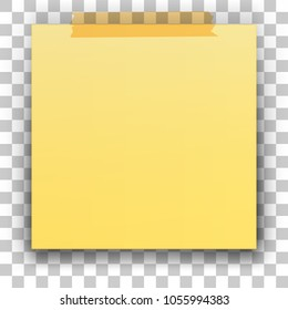 Yellow stick note isolated on transparent background. Vector illustration.
