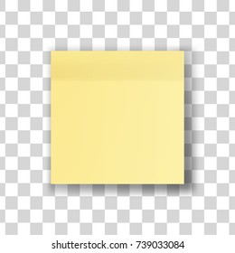 Yellow stick note isolated on transparent background. Vector illustration. EPS10.