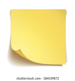 Yellow stick note paper on white background
