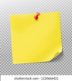Yellow stick paper notes on transparent background. Vector illustration. Can be use for your design, presentation, promo, adv. EPS10.