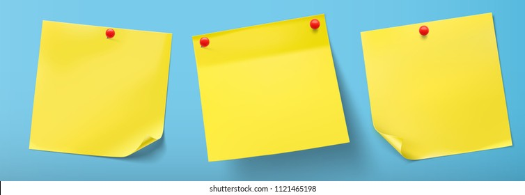 Yellow stick paper notes with push pins. Vector illustration. Can be use for your design, presentation, promo, adv. EPS10.