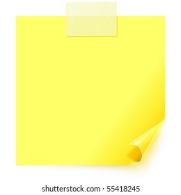 Yellow sticker with the curled corner and paper adhesive tape on white background.