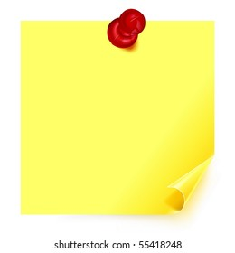 Yellow sticker with the curled corner and straight pin on white background.