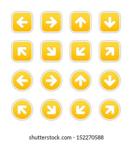 Yellow sticker icon with arrow sign. Rounded square and circle buttons with gray shadow on white background. Vector illustration design element save in 10 eps