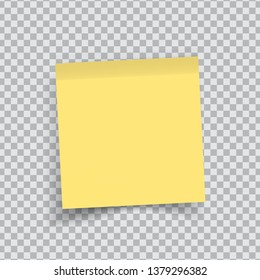 Yellow sticker paper. Note paper with curled corner. Vector isolated on transparent background