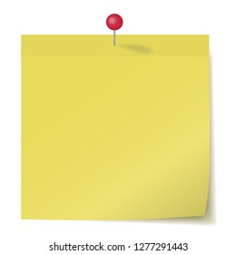 yellow sticker pinned pushbutton, ready for your message. Vector illustration.