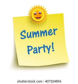 Yellow sticker with sun and text Summer Party. Eps 10 vector file.