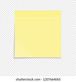 Yellow sticky note isolated on a transparent background