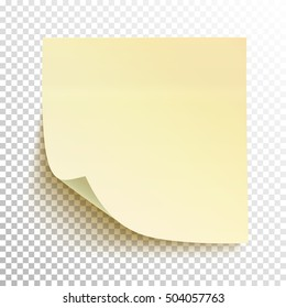 Yellow sticky note isolated on transparent background. Vector illustration.