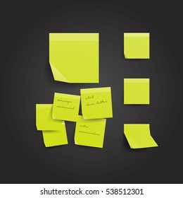 Yellow sticky note isolated on black background. Template for your projects. Vector illustration.