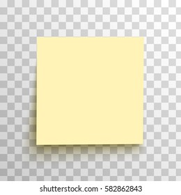 Yellow sticky note isolated on a transparent background. Vector, eps10