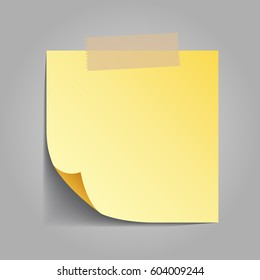 Yellow sticky note isolated on grey background, vector illustration