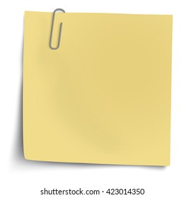 Yellow sticky note with metallic paper clip isolated on white background