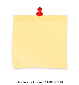 Yellow sticky note paper attached with red pin. Realistic sticker and pushpin isolated on white. Vector illustration. Easy to edit template for your design projects.