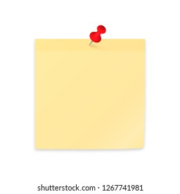 Yellow sticky note paper clipping with red push pin. Empty sticker and pushpin isolated on white. Stationery vector illustration. Easy to edit template for your design projects.