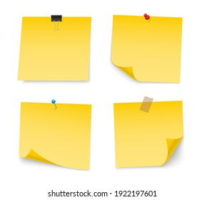 Yellow sticky note paper with push pin, adhesive tape, binder clip. Blank paper sheets for note. Front view. Templates for your message. Vector illustration.