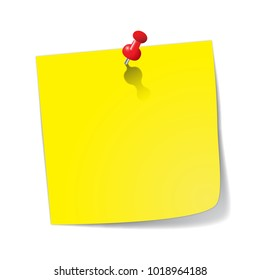 A yellow sticky note with a red pin isolated on a white background