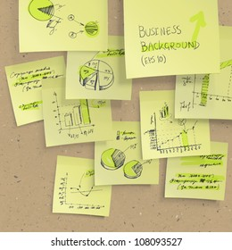 Yellow sticky notes with business infographics on cork board, closeup. All elements editable (available under clipping mask). Vector, EPS10