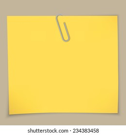 Yellow sticky notes and paper clip. A vector illustration.