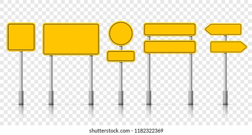 Yellow street road sign boards. Vector roadsign alert notice on transparent background