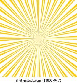 Yellow stripes retro style sunrays background. Sunrays yellow color vector eps10 background.