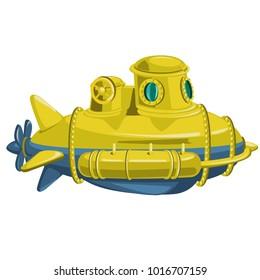 Yellow submarine isolated on white background. Vector cartoon close-up illustration.