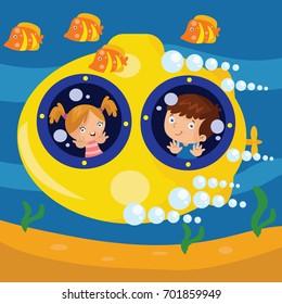 Yellow submarine in the ocean illustration