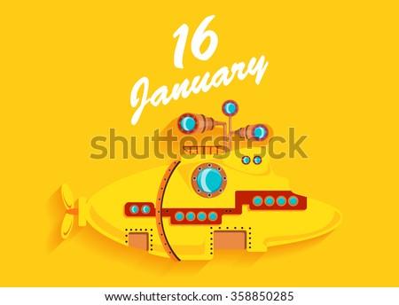 Yellow submarine on a