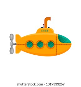 Yellow submarine with periscope isolated on white background. Colorful underwater sub in flat style. Childish toy - stock vector illustration