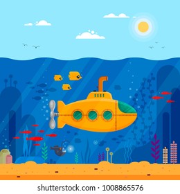 Yellow submarine with periscope underwater concept. Marine life with fish, coral, seaweed, colorful blue ocean landscape. Bathyscaphe template for banner, poster or flyer cover - flat vector