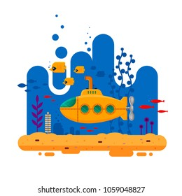 Yellow submarine with periscope underwater concept. Marine life with fish, coral, seaweed, colorful blue ocean landscape. Bathyscaphe template for banner, logo, poster or flyer cover - flat vector