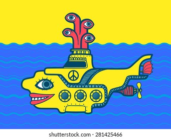 Yellow submarine at sea cartoon vector design with peace sign, psychedelic 60s illustration art