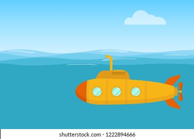 Yellow submarine. Yellow submarine swims in the waters of the ocean. Flat design, vector.
