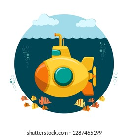 Yellow Submarine undersea with fishes in a cartoon style, with periscope, bathyscaphe underwater ship, Diving Exploring At the Bottom of Sea Flat design. Vector
