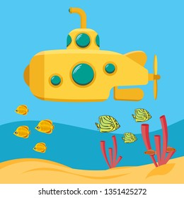 Yellow submarine, Underwater marine wildlife. Expedition in the depths of the sea. Bathyscaphe with periscope. Flat cartoon vector illustration.