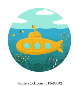 Yellow Submarine underwater with Periscope. Flat Design Style. Vector illustration of undersea boat with fishes on sea, cartoon periscope. Nautical travel  bathyscaphe deep