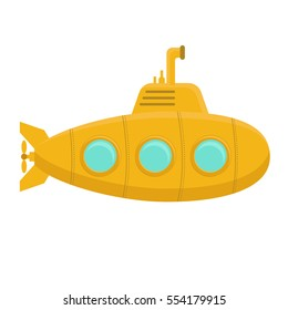 Yellow Submarine Underwater with Periscope on White Background. Flat Design Style. Vector illustration