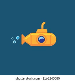 Yellow submarine underwater in sea water. Vector illustration yellow submarine floating under sea water isolated on blue background
